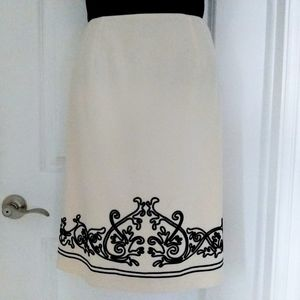Talbots Ivory Pencil Skirt With Black Braid Trim